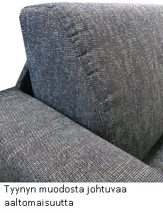 Sohvan istuintyynyn aaltomaisuutta