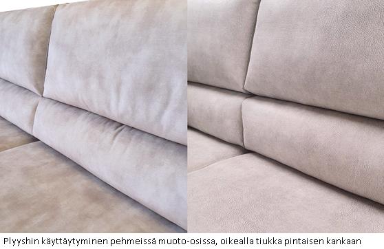 Plyyshin käyttäytyminen sohvan selkätyynyssä